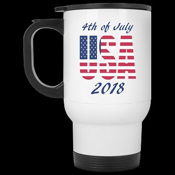 4th of July Travel Mug, Stainless Steel Tumbler, USA Custom Travel Mug