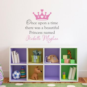 Girl Name Wall Decal - Princess Crown Decal - Once upon a time - Medium