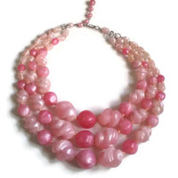 "Vintage Necklace - 1950's Pink Lucite Triple Strand Necklace - Made in Germany - 15"" extends to 17.5"""