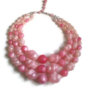 """Vintage Necklace - 1950's Pink Lucite Triple Strand Necklace - Made in Germany - 15"""" extends to 17.5"""""""