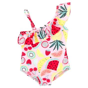 Kavkas Baby Girl swimwear Fruit Printing One pieces Swimsuit Summer Beach Wearing