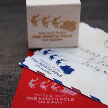Mailed via the North Pole Stamp - Christmas Cards - Santa