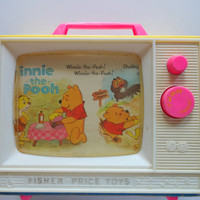 Vintage Fisher Price Winnie The Pooh Music Box TV Toy 1971