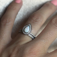 Opal Engagement Ring, Opal Halo Diamond Ring, Pear Halo Diamond Ring, Opal Wedding Ring, Pear Engagement Ring, White Gold Engagement Ring