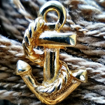 Cute Anchor Earrings Pierced Golden Metal Minimalist Nautical Preppy Delta Gamma Logo Teens Tweens College Girls Women Jewelry Jewellery