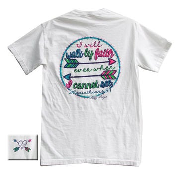 Bjaxx Lilly Paige Walk By Faith Arrows Christian Comfort Colors Southern Girlie Bright T Shirt