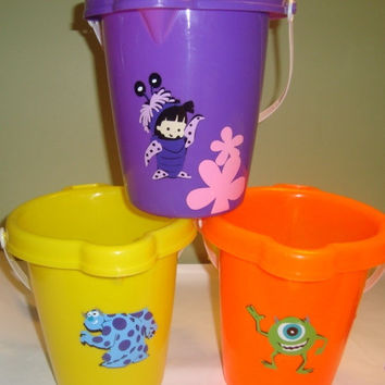Personalized Sand Buckets. Monsters Inc or Monster University Great for premier as popcorn bucket (hint)
