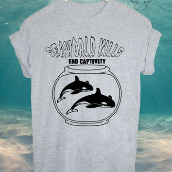 SEAWORLD KILLS end captivity orca unisex blackfish tshirt tee