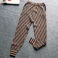 FENDI Popular Women Casual F Letter Jacquard Knitting Sport Stretch Pants Trousers Sweatpants Coffee