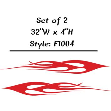 "Vehicle Tribal Flames Vinyl Decal Sticker Car Truck Boat Graphics Racing - STYLE F1004 - Set of (2) 32""W X 4""H"