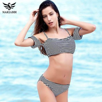 Bikinis Women Swimsuit Push Up Swimwear Bottom Striped Top Off The Shoulder Ruffle Bathing Suits Swim Wear