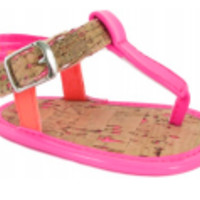 Baby Pink & Orange Sandal with Cork Bottom