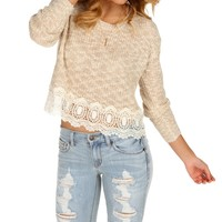 Sale-taupe Crochet Crop Sweater