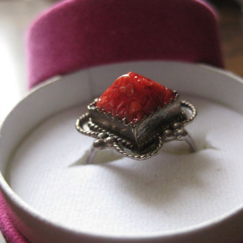 Vintage Silver ring, red coral Berber ring, coral ring, coral silver ring, sterling silver rings, red coral ring uk,