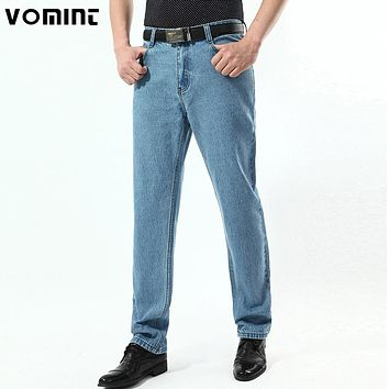 New Men Vintage Jeans Classic Denim Cotton Fabric Light Wash Casual Business Trousers Pants