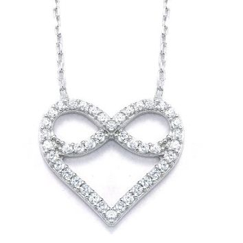 ".925 Sterling Silver Infinity Heart Cubic Zirconia Pendant Necklace,16+2"" Extender"
