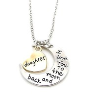 """Daughter I Love You To The Moon and Back"" Heart Pendant Necklace Two Pendants Fashion Gift Love Necklace"