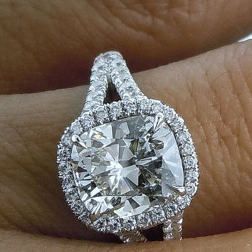 4.90ct Cushion cut Moisssanite & Diamond Engagement Ring 18kt JewelformeBlue