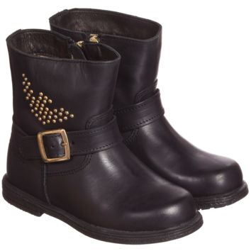 Girls Leather Biker Boots