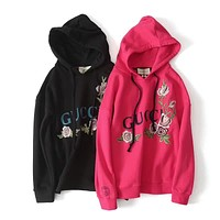 Gucci Women Embroidery Hot Hoodie Cute Sweater