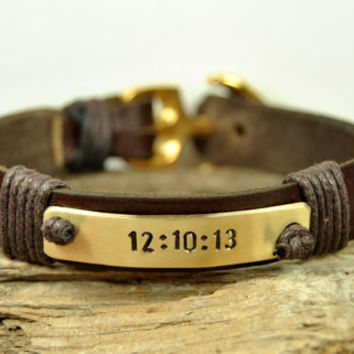 FREE SHIPPING - Men's Personalized Bracelet, Leather Men Bracelet, Men's Leather Bracelet, Brass Plate and Gold Plated Anchor Men Bracelet