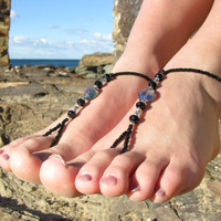Foot Jewelry - Barefoot Sandals with Blue Crystals