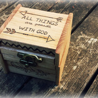 Inspirational arrow feather wood burned storage box all things are possible with God pyrography boho chic chevron cherry stained brass latch