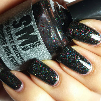 Blank Space/ Black Holo_Glitter Indie Nail Polish
