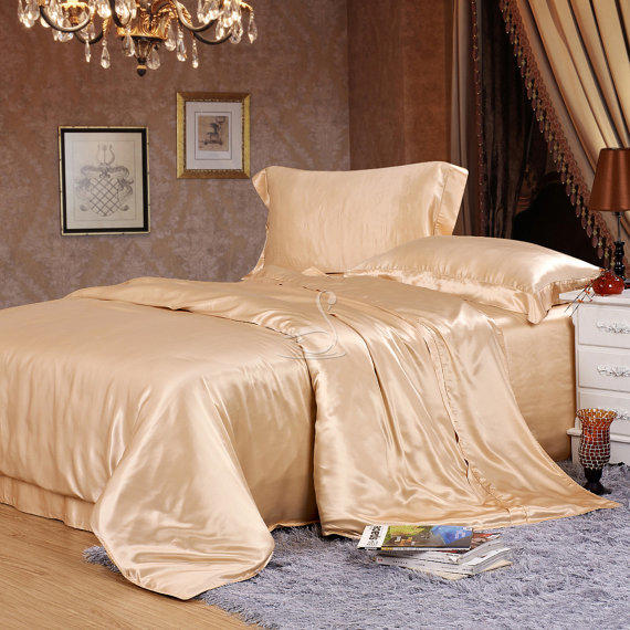 Champagne Silk Bedding Set 5pcs Luxury From
