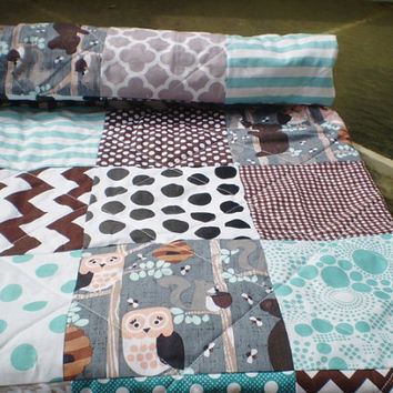 Woodland Baby quilt patchwork crib quilt,baby boy or girl bedding,rustic,forest,teal,grey,brown,bear,owl,squirrel,chevron,toddler,Honey Bear