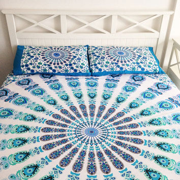 Blue Floral Mandala Bedspread Pillowcase Set Throw Tapestry
