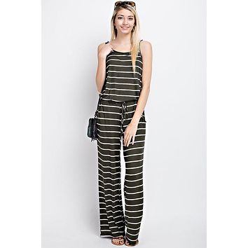 Casual Striped Jumpsuit  - Olive
