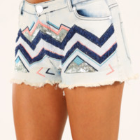 Gimme A Feelin' Shorts: Denim/Multi