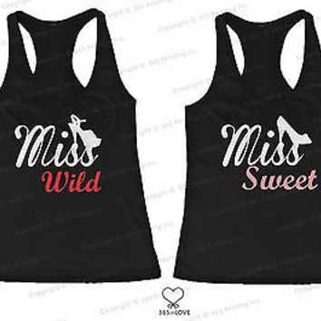 BFF Tank Tops Miss Wild n Miss Sweet with Shoes Matching for Best Friends