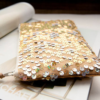 Linen and Sequins Wedding Prom Clutch, Bridal Purse Bag Clutch in gold, Mothers day, Gift for her
