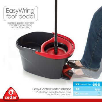 No Hands EasyWring Microfiber Spin Mop and Bucket Floor Cleaning System