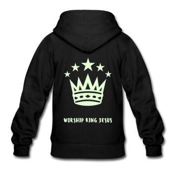 Glow in the Dark Worship King Jesus Gildan Heavy Blend Youth Zip Hoodie