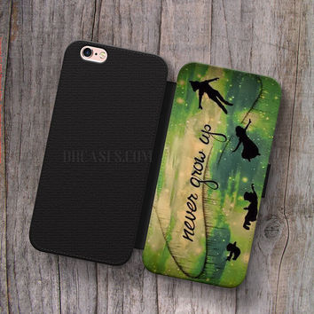 Wallet Leather Case for iPhone 4s 5s 5C SE 6S Plus Case, Samsung S3 S4 S5 S6 S7 Edge Note 3 4 5 Never grow up Cases