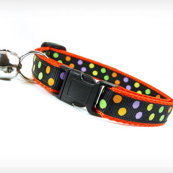 "Halloween Cat Collar - ""Monster Mash"" - Candy-Colored Dots on Black & Orange"