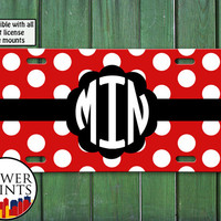 Red Black Polka Dot Pattern Minnie Mouse Inspired Monogram Initials Cute Accessory Front License Plate Car Tag Vehicle Custom