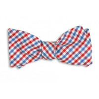 Red and Old Blue Tattersall Bow Tie by High Cotton