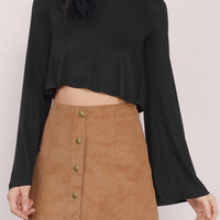 Black Flare Sleeve Crop Top