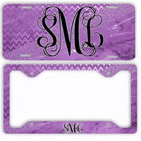 Purple Marble Chevron Look License Plate Car Tag Monogram Frame Personalized Set Custom Initials Car Coasters Faux Glitter Sparkle