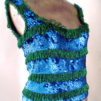 Vintage 80s Trophy Top Blue Green Sequin Beaded Loopy Fringe Beads Bust 32 - 36