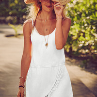 Loose Asymmetrical Fringed Strappy Dress