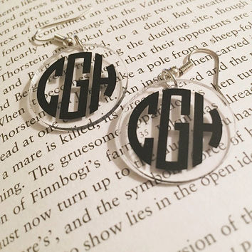 Monogrammed Acrylic Earrings 1 inch Circle with Silver Hook Back ANY COLOR LETTERS Monogram Monogrammed Earrings Personalized Earrings