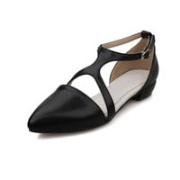 Big size 34-43 women shoes fashion T-Strap Solid Buckle Strap Casual flats Pointed Toe Soft leather Casual Summer sandals shoes