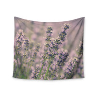 "Robin Dickinson ""Smell the Flowers"" Lavender Green Wall Tapestry"