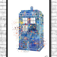 Tardis From Dr Who 2 Watercolor Print,Watercolor Painting,Wall Hanging,Giclee Wall Print,Movie Art Poster,Watercolor Art,Home Decor,Wall art