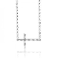 Sterling Silver Cubic Zirconia Side Cross Necklace